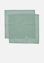 Cotton On - 2pk organic muslin facewasher - smashed avo/petrol teal betty spot