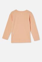 Cotton On - Penelope long sleeve tee - peachy/peace love