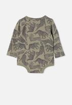 Cotton On - The long sleeve bubbysuit - silver sage/charlie cheetah
