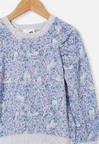 Cotton On - Priscilla puff sleeve top - dusk blue/unicorn garden