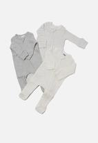 Cotton On - 3 pack organic newborn zip through rompers - grey