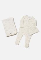 Cotton On - Bundle nb romper, blanket and beanie - milk hedgehog