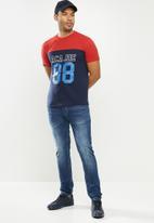Aca Joe - Aca Joe colour blocked 88 T-shirt - red & navy