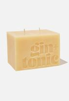 Typo - Large block candle-mustard gin & tonic!