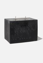 Typo - Large block candle-black espresso martini!