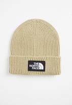 The North Face - Tnf logo box cuff beanie - beige