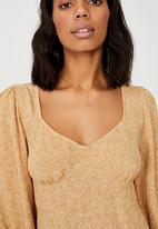 Cotton On - Woven long sleeve essential tie back tea dress - ashley ditsy caramel brown