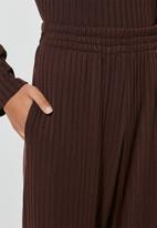 Superbalist - Knit rib wide leg - chocolate brown