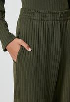 Superbalist - Knit rib wide leg - khaki
