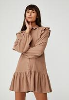 Cotton On - Woven marnie long sleeve babydoll mini shirt dress - cocoa bean