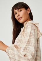 Cotton On - Woven marnie long sleeve babydoll mini shirt dress - charlotte check barley