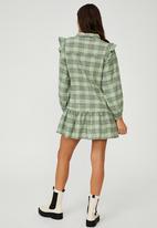 Cotton On - Woven marnie long sleeve babydoll mini shirt dress - charlotte check pistachio green