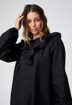 Cotton On - Woven juliet long sleeve mini dress - black