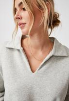 Cotton On - Kora collared long sleeve pullover - light grey marle