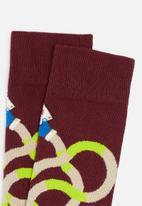 Happy Socks - Magic hands socks - burgundy