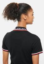 Aca Joe - Contrast collar pique dress - black