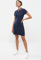 Aca Joe - Contrast collar pique dress - navy