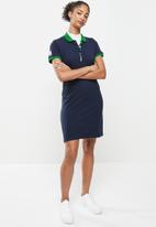 Aca Joe - Contrast collar sj dress - navy & green