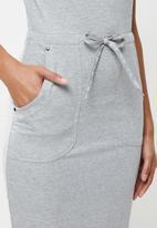 Aca Joe - Collared drawstring short sleeve dress - grey