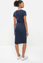 Aca Joe - Collared drawstring short sleeve dress - navy