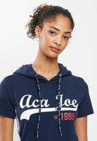 Aca Joe - Sj hooded short sleeve terry dress - navy