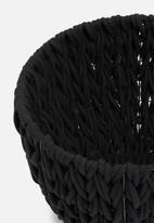 Sixth Floor - Large braided cotton rope basket - black