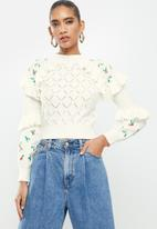 Glamorous - Ruffle jumper- white