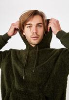 Cotton On - Drop shoulder teddy fleece hood - green