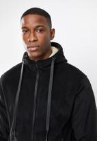 STYLE REPUBLIC - Sherpa lined hooded jacket - black