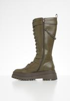 Public Desire - Amari lace up chunky knee high boot - olive