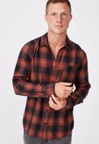 Cotton On - Washed long sleeve check shirt - burnt orange check