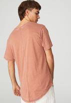 Cotton On - Longline scoop burnout T-shirt - brown