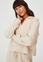 Cotton On - Kora collared long sleeve pullover - stone