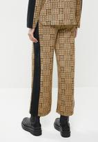Me&B - Checked colour block pant - beige & black