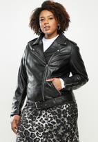 Glamorous - Plus pu biker with belt detail- black