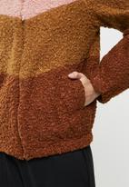 Me&B - Colourblock sherpa jacket - rust & pink