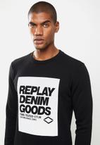 Replay - Replay denim good crew fleece - black