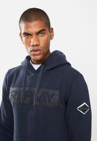 Replay - Replay label print hoodie - navy