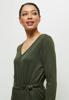 edit - Ribbed v-neck jumpsuit - olive