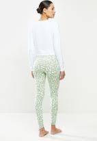 Missguided - Contrast animal print legging - white & green