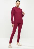Missguided - Waffle loungewear hoodie & pants - burgundy