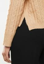 Missguided - Slouchy V-neck cable hoodie co ord - tan