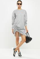 Missguided - Ruched side sweater dress - grey