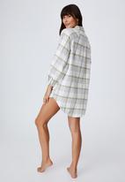 Cotton On - Warm flannel sleep shirt nightie - field check oregano