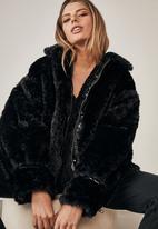 Factorie - Oversized fur teddy jacket - black