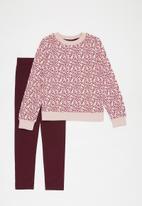 POP CANDY - Printed sweat top & leggings set - pink & burgundy