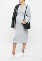Superbalist - Dolman sleeve mock wrap dress - grey