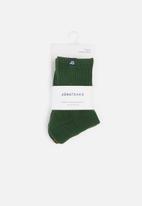 Jonathan D - 2-Pack branded quarter ribbed crew socks - green & black