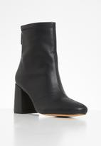 Missguided - Faux leather block heel sock boots - black