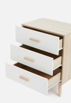 Sixth Floor - Alva 3 drawer storage - white & natural